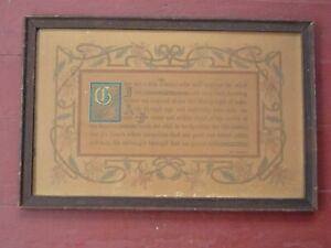 Antique 1908 MISSION A&C  MAX EHRMANN Poem  Motto Print Give me a  Few Friends