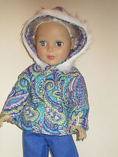 """Purple/Turquoise Paisley Quilted Winter Coat for 18"""" Doll Clothes American Girl"""