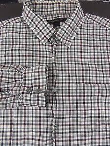 John Varvatos USA LS Plaid Dress Shirt White Black Pink sz Medium Cotton