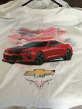 Chevy Camaro SS Apparel Large T-Shirt L White Chevrolet GM Muscle Bow Tie