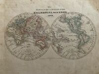 1849 WORLD HEMISPHERES ORIGINAL ANTIQUE HAND COLOURED MAP BY JOSEPH MEYER