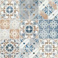 VALENCIA TILE WALLPAPER BLUE / ORANGE DEBONA 5011 - FEATURE WALL NEW