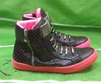 NEW jeffrey campbell ibiza last handmade black pink sneaker SILVER STUD Size  8