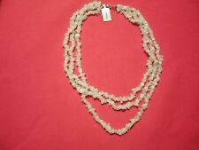 Rainbow Moonstone 3-Strand Chip Bead Necklace w/925 Sterling Clasp-364 Carats