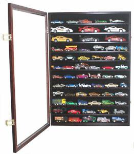 1/64 & 1/43 Scale Hot Wheels Display Case Wall Cabinet - Mahogany Finish