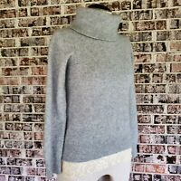 Preston York Turtle Neck Sweater Chunky Rib Knit Heather Gray Cashmere Blend  S