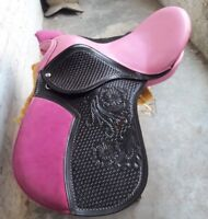 16'' english toolled handcarft treeless all purpose saddle in pink leather seat