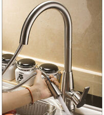 Stainless steel Hot & Cold Kitchen Sink Faucet Mixer Tap&Pull Out Sprayer