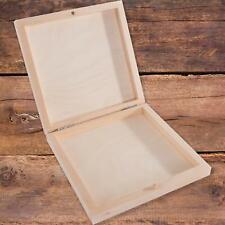 Flach Quadratisch Dekorativ Holz Box 14.5 x 14.5 X 2.7 cm Schlicht Lindenwood
