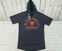 Under Armour Project Rock Blood Sweat Respect  Grey Hoodie Black MEN'S SIZE SM