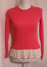 Hollister Jumper | Size S | Pink with Off White Lace | Casual Top | VGC