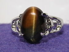 """Golden Tiger's Eye and Silver with Hearts """"Size-9"""" WITH FREE GIFT BOX & BAG!"""