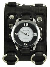 Nemesis Black/White Embossed Watch + Faded Black Wide Detail Leather Cuff Band