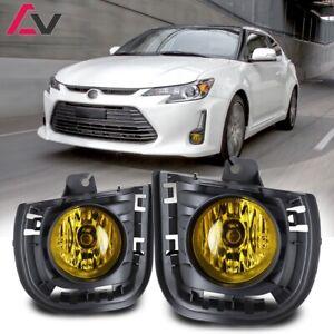 14-16 For Scion tC Yellow Lens Pair Bumper OE Fog Light Lamp+Wiring+Switch Kit