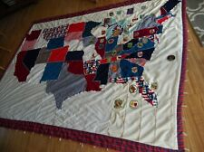 Vintage Travelers Quilt, Handmade, Red White And Blue, Americana,Vintage Patches
