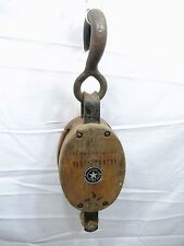 Antique Wood & Iron Snatch Block Single Pulley Farm Barn Tool Boston Lockport