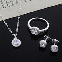 fashion wedding 925 sterling silver crystal necklace earring ring jewelry set
