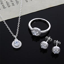new 925 sterling silver wedding necklace earring ring jewelry fashion women set