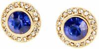 Charming Charlie Women's Round Rhinestone Stud Earrings - Steel Post - Blue/Gold