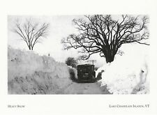 "*Vermont Postcard-""Heavy Snow"" /Car Going Thru/  *Lake Champlain Islands (A307)"