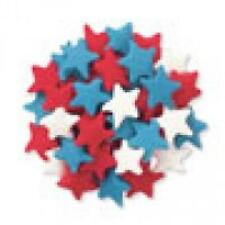 Edible Confetti Sprinkles Cookie Cake Cupcake LARGE PATRIOTIC STARS 8 oz.