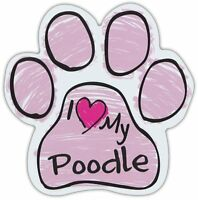 Pink Scribble Paws: I LOVE MY POODLE | Dog Paw Shaped Car Magnets