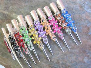 "Rhinestone Flower Hair Claw Clip Alligator Meta Clamp Color Choice 5"" LENGTH"