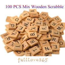 100 Wooden Alphabet Tiles Black Letters & Numbers For Scrabble Children Toy XD