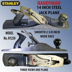 """STANLEY HANDYMAN 14"""" STEEL JACK PLANE # H1250 WITH 2 3/8"""" WIDE SMOOTH FACE BED"""