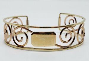 Vintage Signd Krementz Rose & Yellow Gold Filler Monogram Filigree Cuff Bracelet