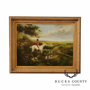 W. Larsen English Fox Hunt Oil Painting on Canvas