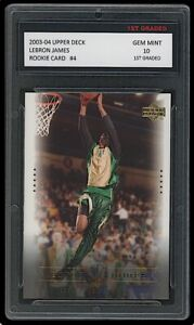 LEBRON JAMES 2003-04 UPPER DECK #4 1ST GRADED 10 ROOKIE CARD LAKERS/CAVALIERS