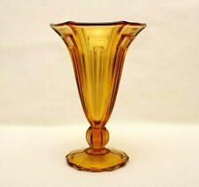 Vintage Art Deco Trumpet Shaped Amber Glass Vase