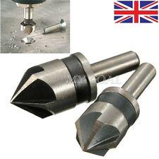 2PCS 5 Flute Countersink Drill Bit Set 82°Counter Sink Chamfer Cutter 1/4 Shank