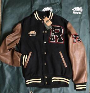 Roots Canada varsity leather  jacket  Made Canada New