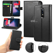 For OnePlus 6 Luxury Magnetic Flip PU Leather Wallet Black Cover Case Card Slots