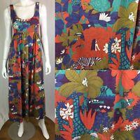 Vintage 1970s Women's Animal Jungle Print Pleated Midi Flare Shift Dress 9 Small
