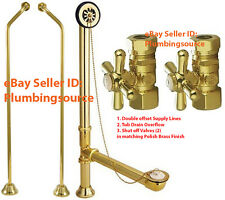 Tub Drain Overflow for Clawfoot Tub, Double Offset Supply Lines, Valves, Brass