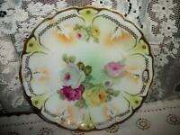 STUNNING ANTIQUE CHIC GERMANY ROSES PLATE SHABBY COTTAGE INCREDIBLE HP 10 inch