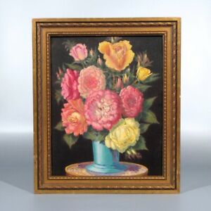 Vintage French Oil Painting, Bouquet of Flowers in a Blue Vase, Roses