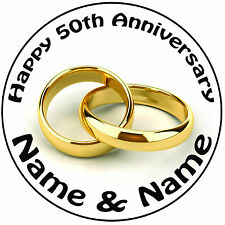 "Personnalisé 50th golden anneaux mariage anniversaire rond 8"" icing cake topper"