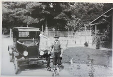 "1925 Ford Model T Sedan with man and dog 12 X 18"" Black & White Picture"