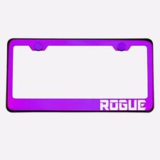 Purple Chrome License Plate Frame ROGUE Laser Etched Metal Screw Cap