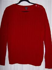 TALBOTS Cable Knit Crew Neck LS Sweater NWT Nylon/Lambswool Raspberry XL $79