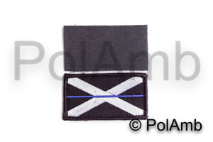 Thin Blue Line Scottish Police Scotland Hook Fastener Backed Badge Patch Small