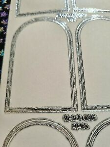 Peel Off Craft Stickers Clear Silver Foiled Arch Shape
