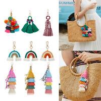 Bohemian Pompom Keychain Rainbow Charm Pendant  DIY for Bag Accessories