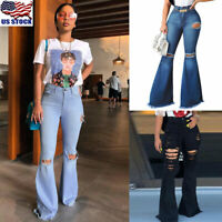 Womens High Waist Stretch Denim Bell Bottom Pants Jeans Ripped Flare Trousers US