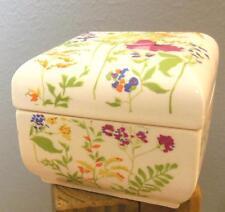 "Ceramic Floral Square Box Elizabeth Arden Japan 4 x 4 x 3"""