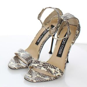 D12 NEW Women's Sz 38 M Sergio Rossi Leather Ankle Strap Sandal In Snake Print